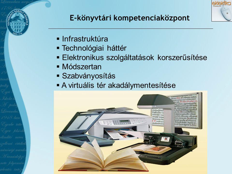 E-könyvtári kompetenciaközpont  Infrastruktúra  Technológiai háttér  Elektronikus szolgáltatások korszerűsítése  Módszertan  Szabványosítás  A v
