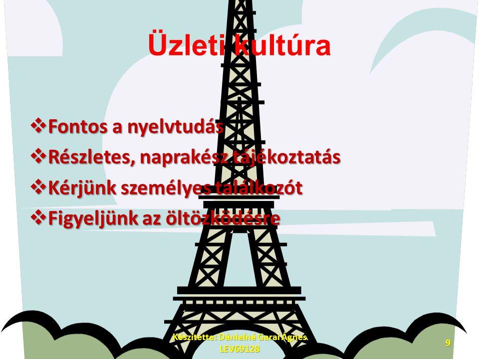 Üzleti kultúra  Fontos a nyelvtudás  Részletes, naprakész tájékoztatás  Kérjünk személyes találkozót  Figyeljünk az öltözködésre Készítette: Dánielné Garai Ágnes LEV69128 9