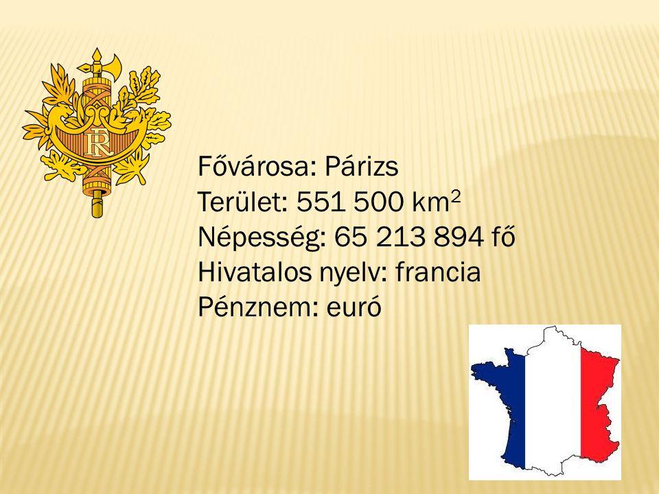 Fővárosa: Párizs Terület: 551 500 km 2 Népesség: 65 213 894 fő Hivatalos nyelv: francia Pénznem: euró
