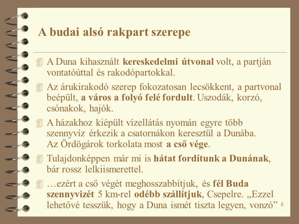 8 A budai alsó rakpart szerepe 4 A Duna kihasznált kereskedelmi útvonal volt, a partján vontatóúttal és rakodópartokkal.