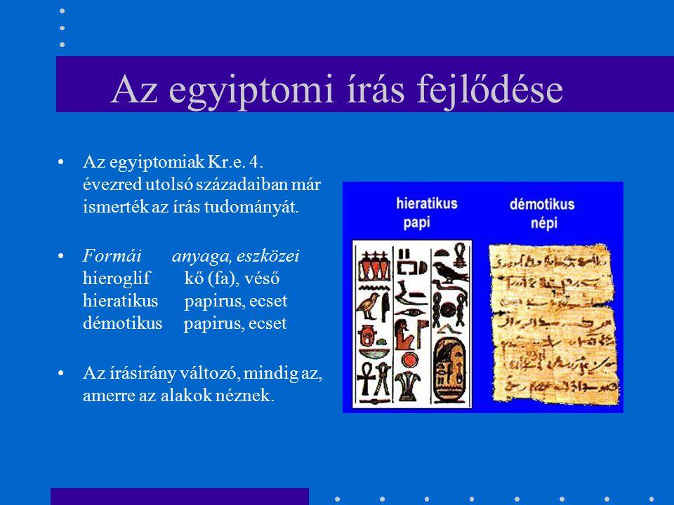 Az egyiptomi írás fejlődése Az egyiptomiak Kr.e. 4. évezred utolsó századaiban már ismerték az írás tudományát. Formái anyaga, eszközei hieroglif kő (
