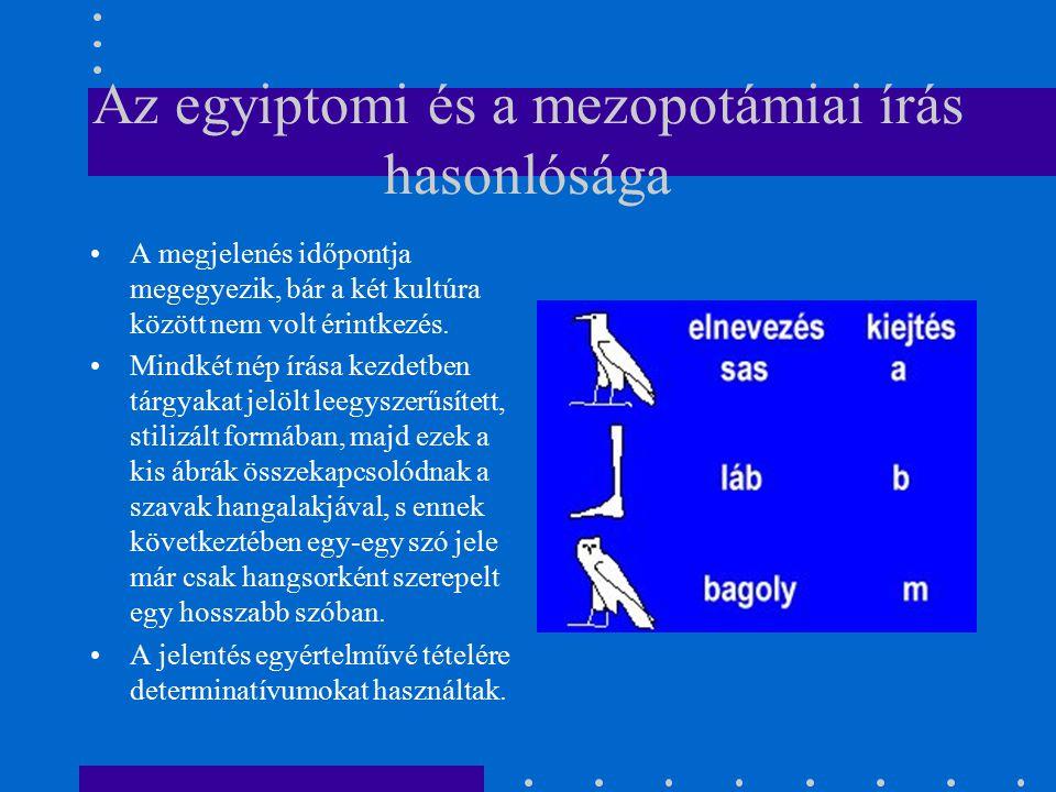 Az egyiptomi és a mezopotámiai írás hasonlósága A megjelenés időpontja megegyezik, bár a két kultúra között nem volt érintkezés. Mindkét nép írása kez