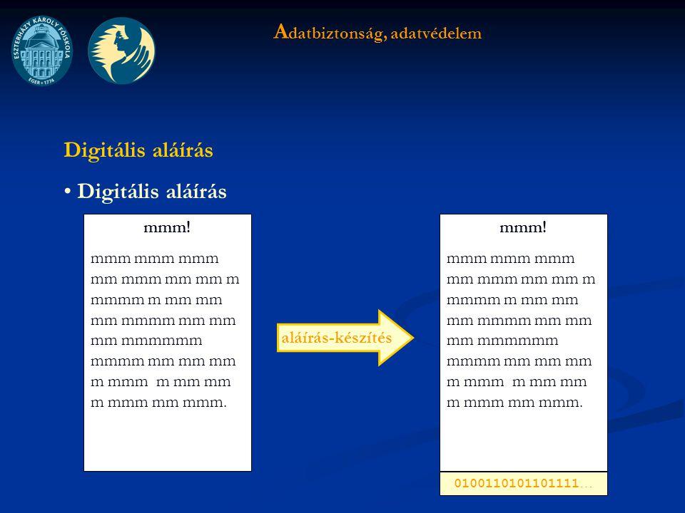 A datbiztonság, adatvédelem Digitális aláírás mmm.