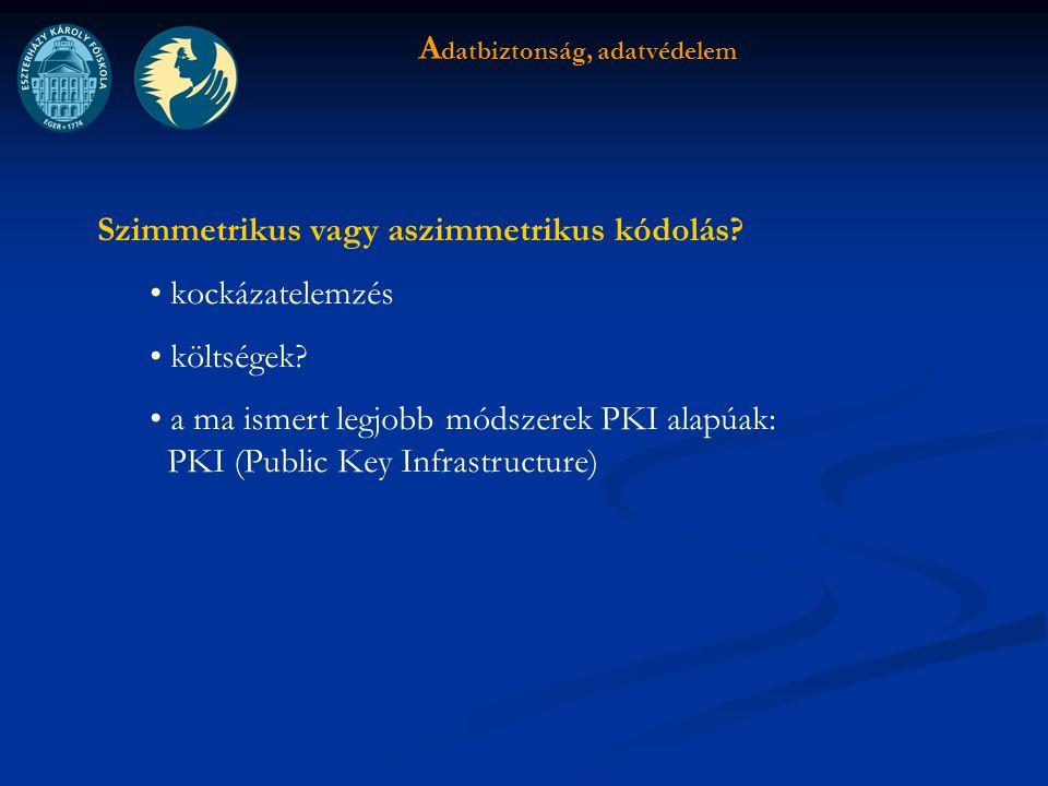 A datbiztonság, adatvédelem Szimmetrikus vagy aszimmetrikus kódolás.