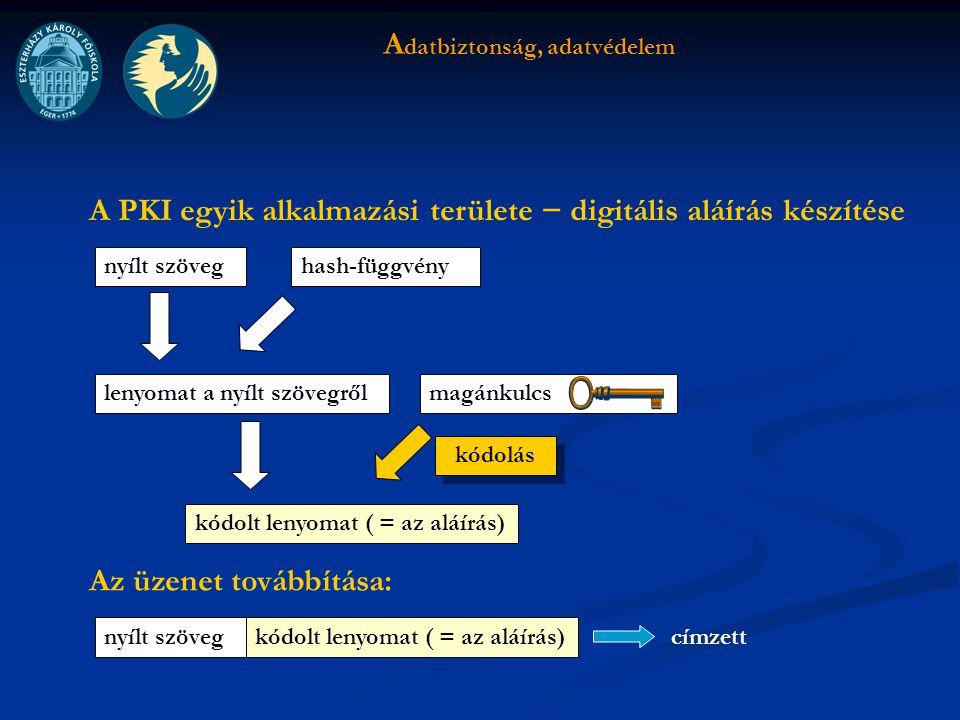 A datbiztonság, adatvédelem A PKI egyik alkalmazási területe − digitális aláírás készítése nyílt szöveg lenyomat a nyílt szövegről hash-függvény magánkulcs kódolt lenyomat ( = az aláírás) Az üzenet továbbítása: nyílt szövegkódolt lenyomat ( = az aláírás) címzett kódolás