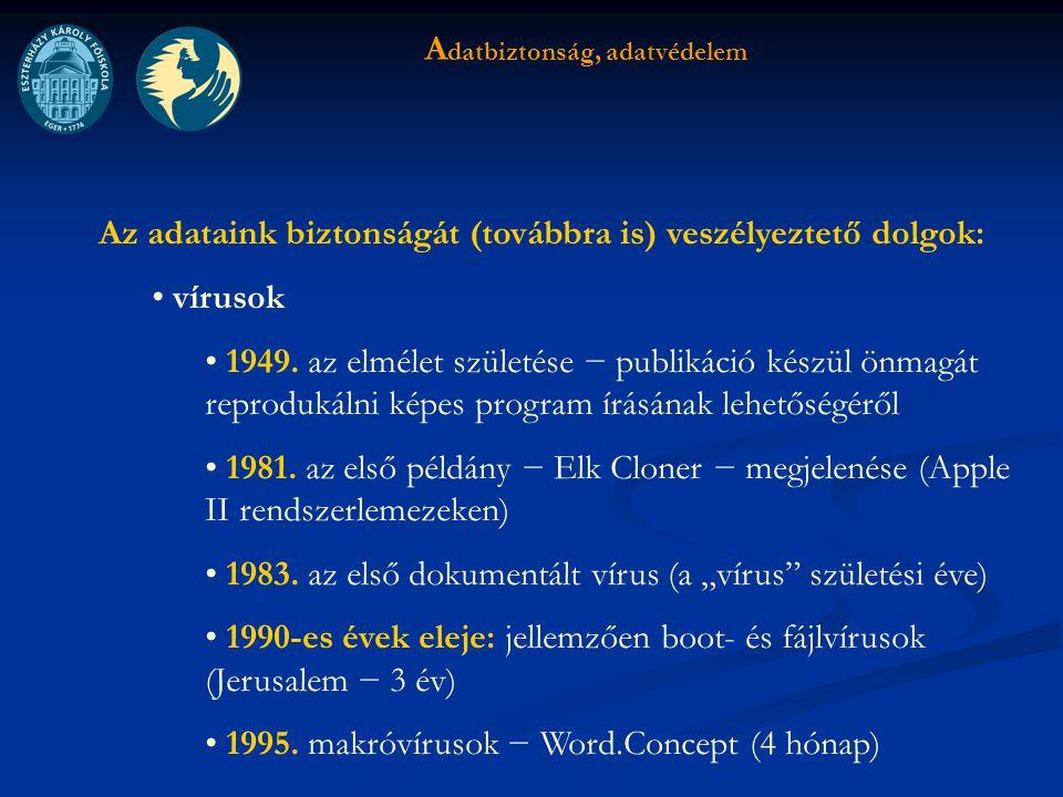 A datbiztonság, adatvédelem Az adataink biztonságát (továbbra is) veszélyeztető dolgok: vírusok 1949.