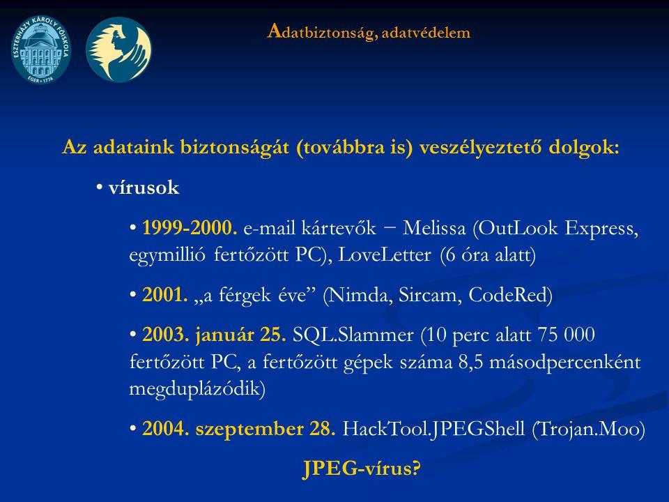 A datbiztonság, adatvédelem Az adataink biztonságát (továbbra is) veszélyeztető dolgok: vírusok 1999-2000.