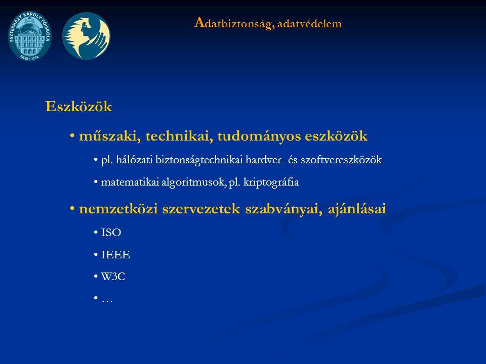 A datbiztonság, adatvédelem Eszközök műszaki, technikai, tudományos eszközök pl.