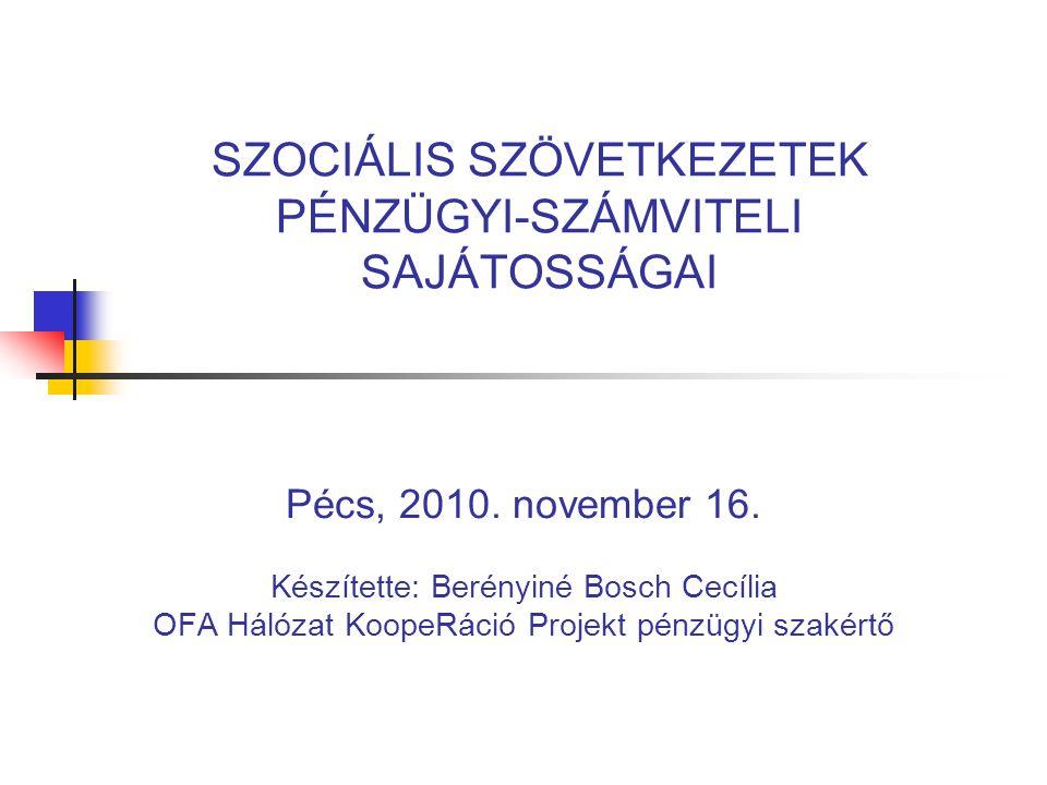 SZOCIÁLIS SZÖVETKEZETEK PÉNZÜGYI-SZÁMVITELI SAJÁTOSSÁGAI Pécs, 2010.