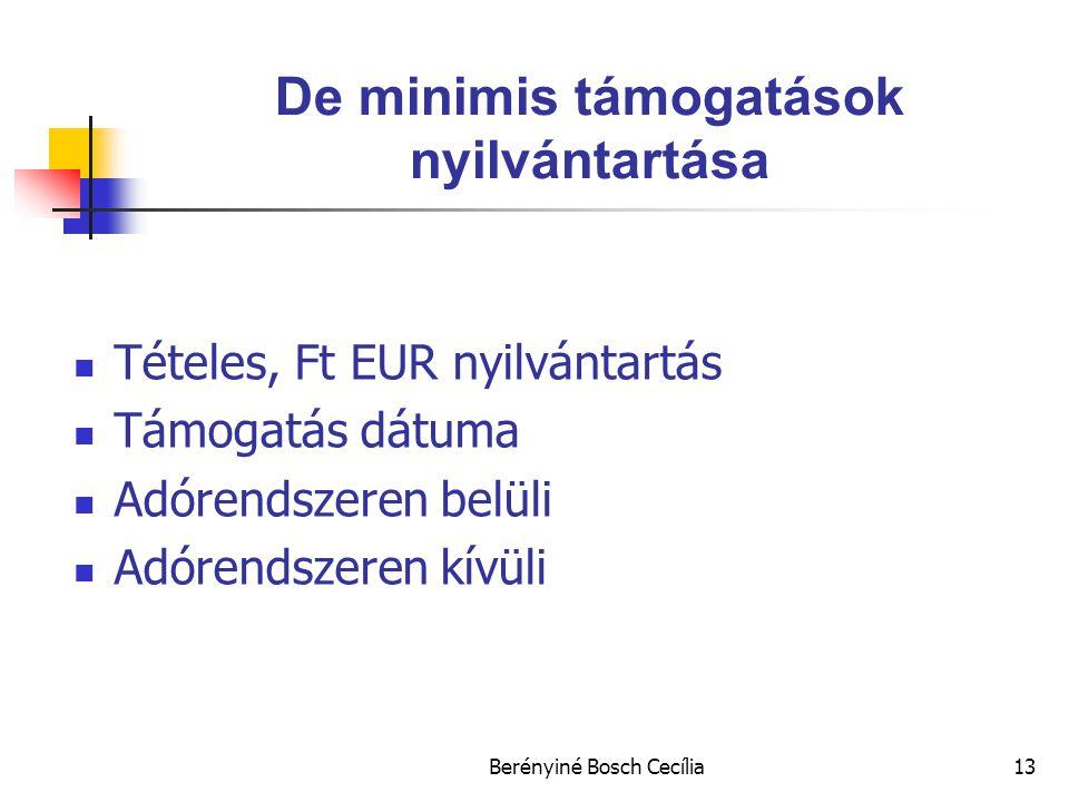 Berényiné Bosch Cecília13 De minimis támogatások nyilvántartása Tételes, Ft EUR nyilvántartás Támogatás dátuma Adórendszeren belüli Adórendszeren kívüli