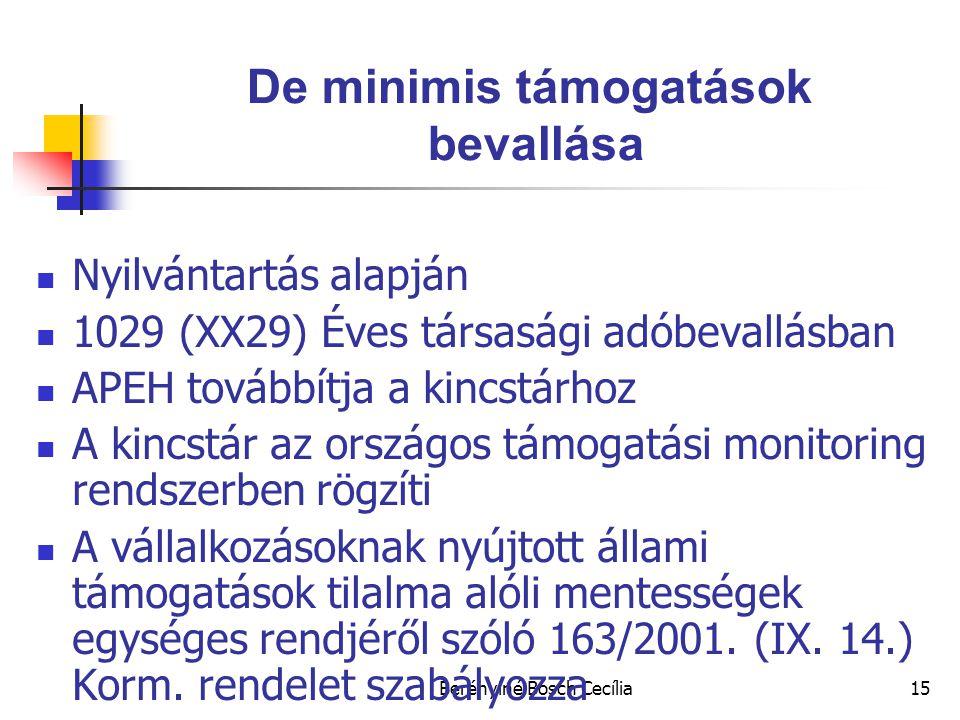 Berényiné Bosch Cecília15 De minimis támogatások bevallása Nyilvántartás alapján 1029 (XX29) Éves társasági adóbevallásban APEH továbbítja a kincstárhoz A kincstár az országos támogatási monitoring rendszerben rögzíti A vállalkozásoknak nyújtott állami támogatások tilalma alóli mentességek egységes rendjéről szóló 163/2001.