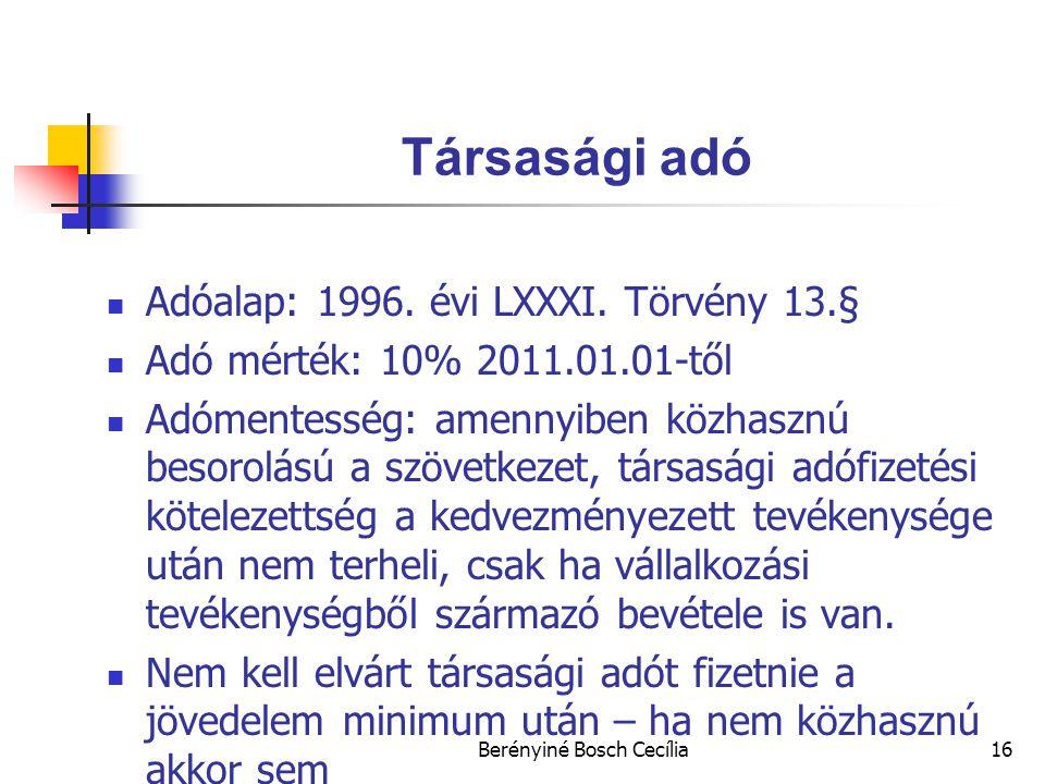 Berényiné Bosch Cecília16 Társasági adó Adóalap: 1996.
