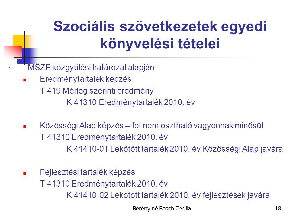 Berényiné Bosch Cecília18 Szociális szövetkezetek egyedi könyvelési tételei 1.