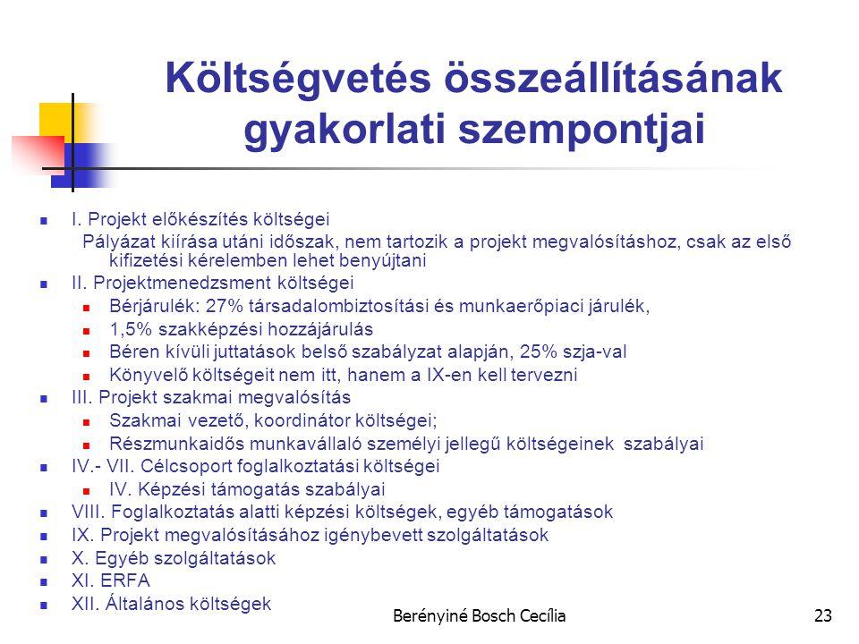 Berényiné Bosch Cecília23 Költségvetés összeállításának gyakorlati szempontjai I.
