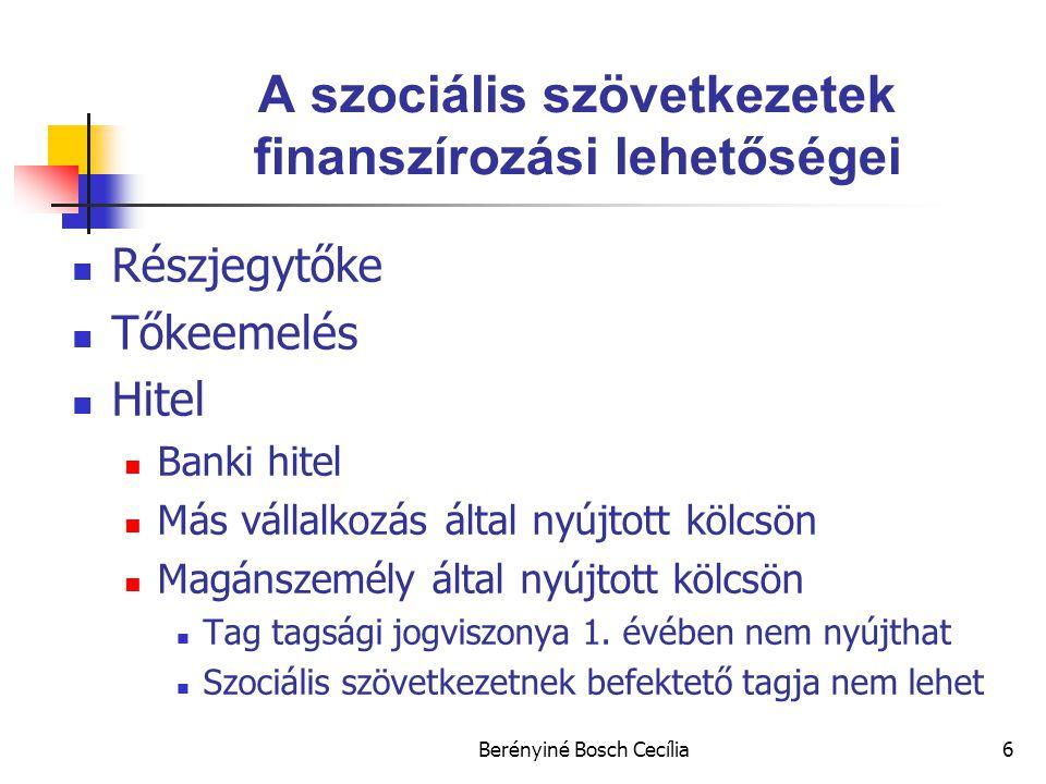 Berényiné Bosch Cecília6 A szociális szövetkezetek finanszírozási lehetőségei Részjegytőke Tőkeemelés Hitel Banki hitel Más vállalkozás által nyújtott kölcsön Magánszemély által nyújtott kölcsön Tag tagsági jogviszonya 1.