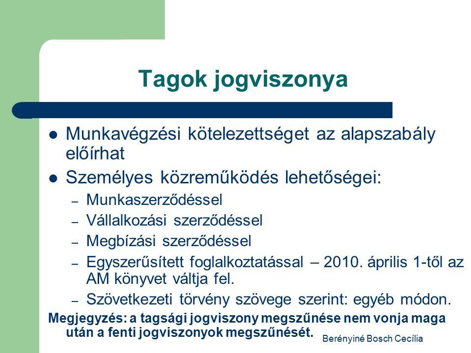 Berényiné Bosch Cecília Tagok jogviszonya Munkavégzési kötelezettséget az alapszabály előírhat Személyes közreműködés lehetőségei: – Munkaszerződéssel – Vállalkozási szerződéssel – Megbízási szerződéssel – Egyszerűsített foglalkoztatással – 2010.