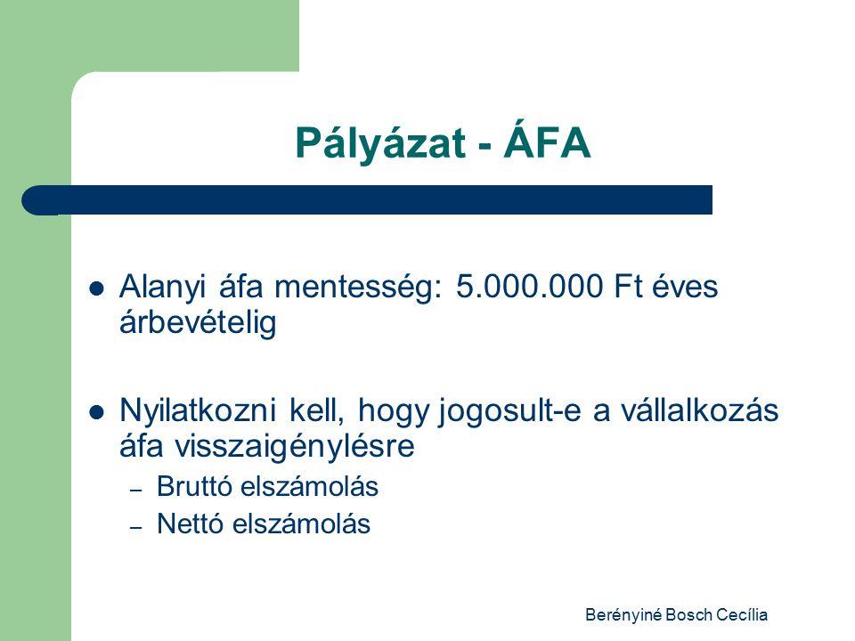 Berényiné Bosch Cecília Pályázat - ÁFA Alanyi áfa mentesség: 5.000.000 Ft éves árbevételig Nyilatkozni kell, hogy jogosult-e a vállalkozás áfa visszaigénylésre – Bruttó elszámolás – Nettó elszámolás