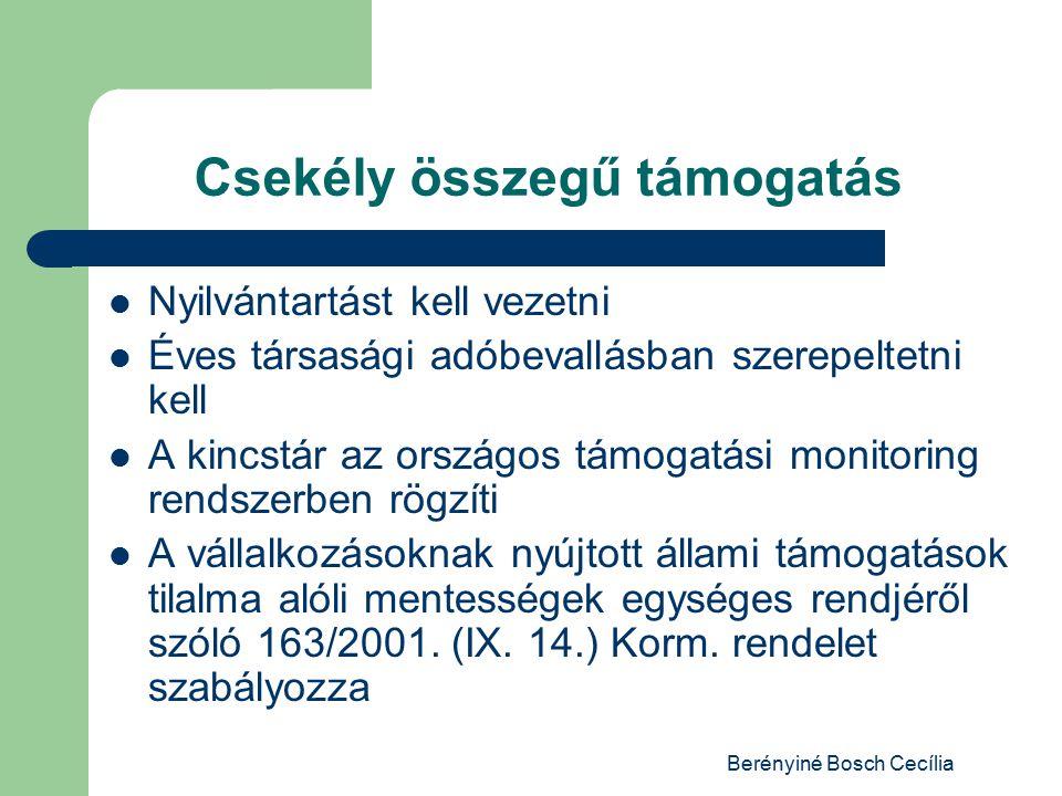 Berényiné Bosch Cecília Csekély összegű támogatás Nyilvántartást kell vezetni Éves társasági adóbevallásban szerepeltetni kell A kincstár az országos támogatási monitoring rendszerben rögzíti A vállalkozásoknak nyújtott állami támogatások tilalma alóli mentességek egységes rendjéről szóló 163/2001.