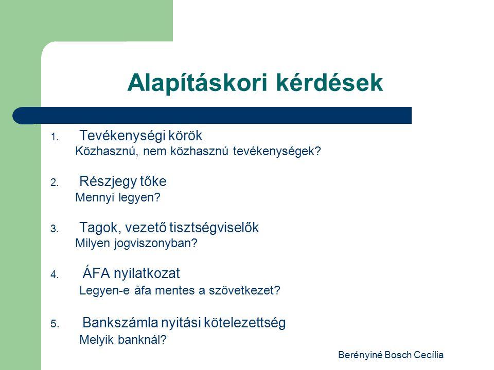 Berényiné Bosch Cecília Alapításkori kérdések 1.