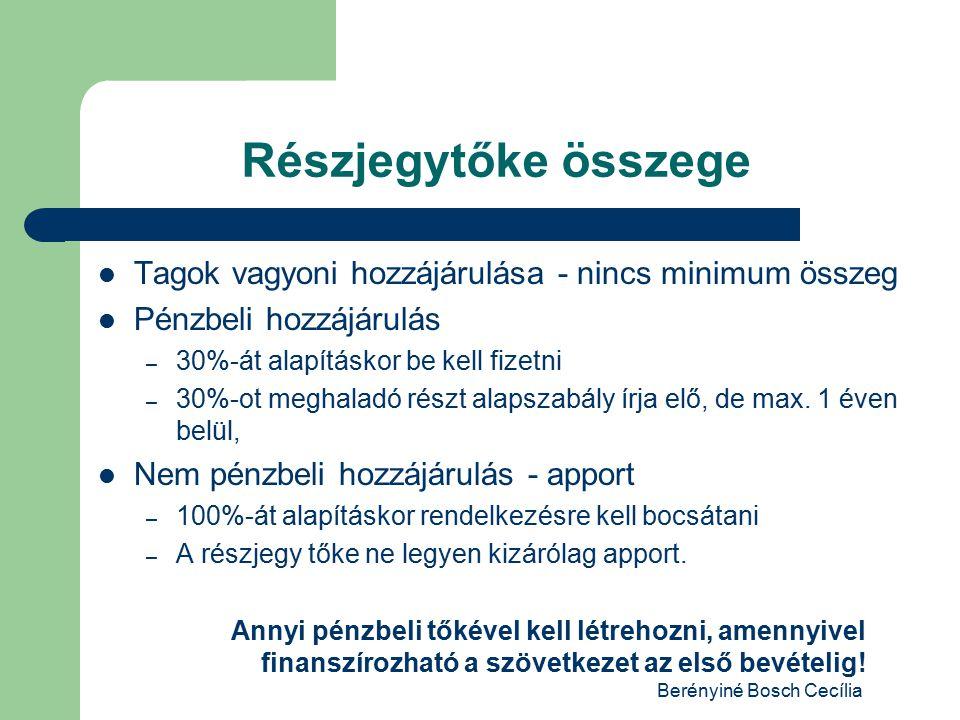 Berényiné Bosch Cecília Részjegytőke összege Tagok vagyoni hozzájárulása - nincs minimum összeg Pénzbeli hozzájárulás – 30%-át alapításkor be kell fizetni – 30%-ot meghaladó részt alapszabály írja elő, de max.