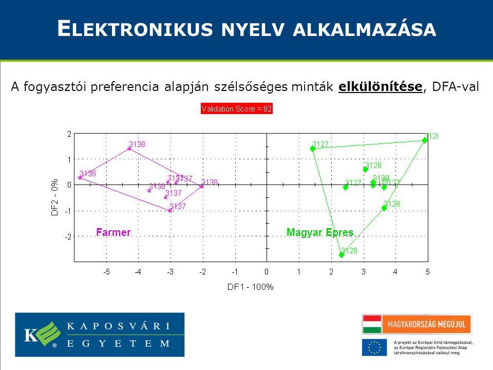 E LEKTRONIKUS NYELV ALKALMAZÁSA A fogyasztói preferencia alapján szélsőséges minták elkülönítése, DFA-val Magyar EpresFarmer
