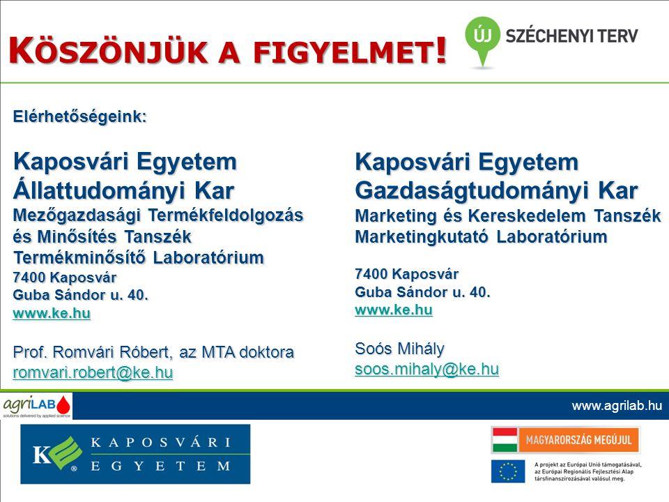 Elérhetőségeink: Kaposvári Egyetem Állattudományi Kar Mezőgazdasági Termékfeldolgozás és Minősítés Tanszék Termékminősítő Laboratórium 7400 Kaposvár G