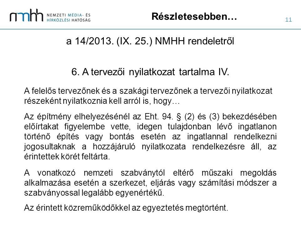 11 Részletesebben… a 14/2013. (IX. 25.) NMHH rendeletről 6. A tervezői nyilatkozat tartalma IV. A felelős tervezőnek és a szakági tervezőnek a tervező