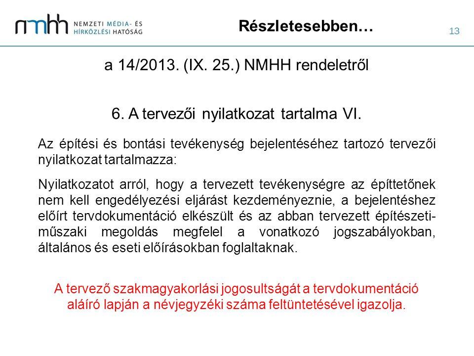 13 Részletesebben… a 14/2013. (IX. 25.) NMHH rendeletről 6. A tervezői nyilatkozat tartalma VI. Az építési és bontási tevékenység bejelentéséhez tarto