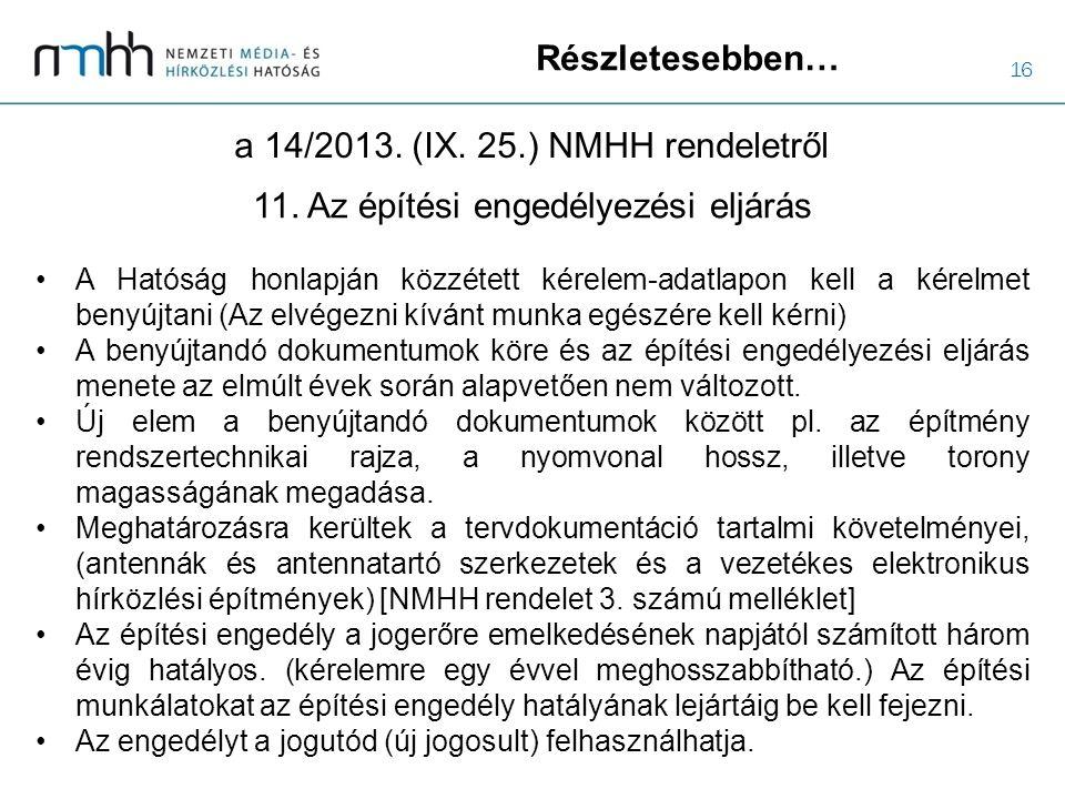 16 Részletesebben… a 14/2013. (IX. 25.) NMHH rendeletről A Hatóság honlapján közzétett kérelem-adatlapon kell a kérelmet benyújtani (Az elvégezni kívá