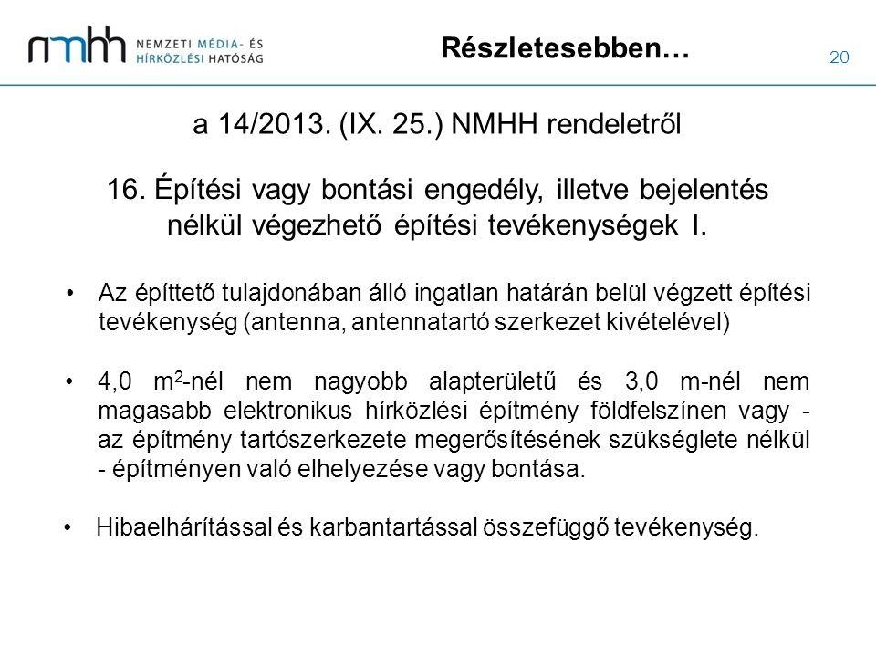 20 Részletesebben… a 14/2013. (IX. 25.) NMHH rendeletről Az építtető tulajdonában álló ingatlan határán belül végzett építési tevékenység (antenna, an