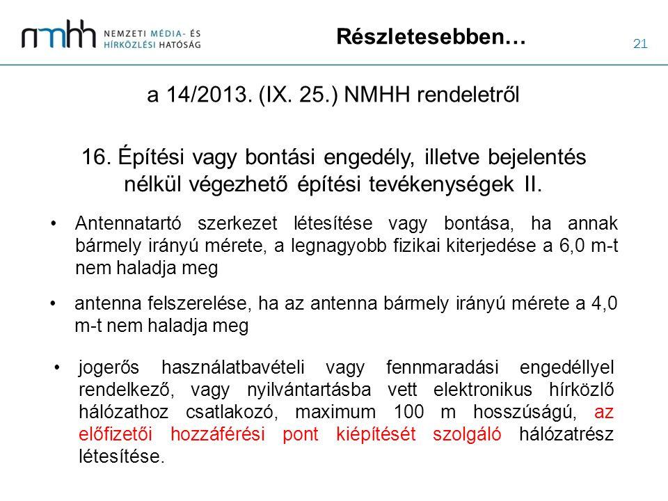 21 Részletesebben… a 14/2013. (IX. 25.) NMHH rendeletről jogerős használatbavételi vagy fennmaradási engedéllyel rendelkező, vagy nyilvántartásba vett