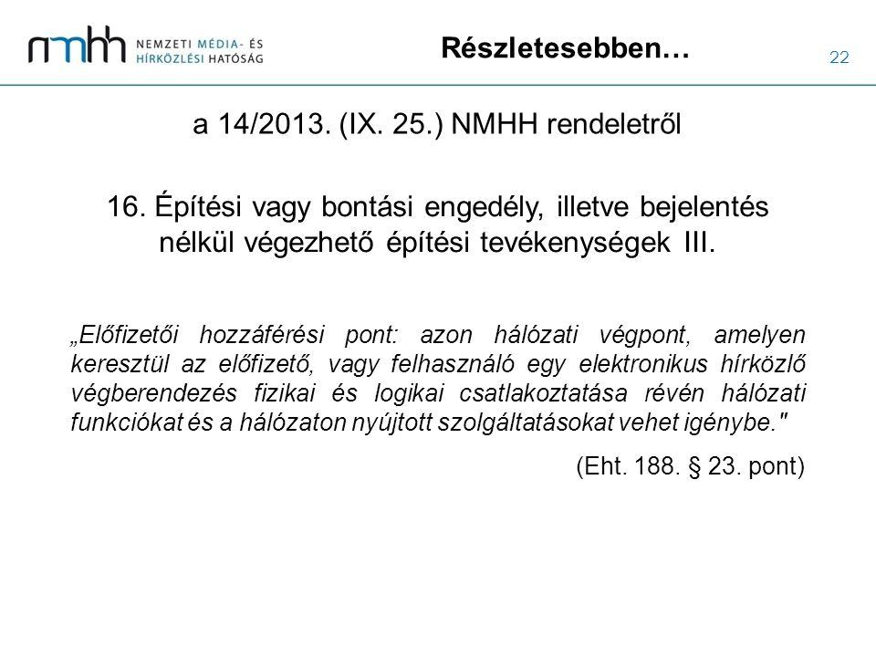 22 Részletesebben… a 14/2013. (IX. 25.) NMHH rendeletről 16. Építési vagy bontási engedély, illetve bejelentés nélkül végezhető építési tevékenységek