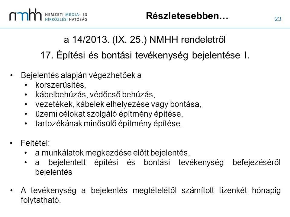 23 Részletesebben… a 14/2013. (IX. 25.) NMHH rendeletről Bejelentés alapján végezhetőek a korszerűsítés, kábelbehúzás, védőcső behúzás, vezetékek, káb