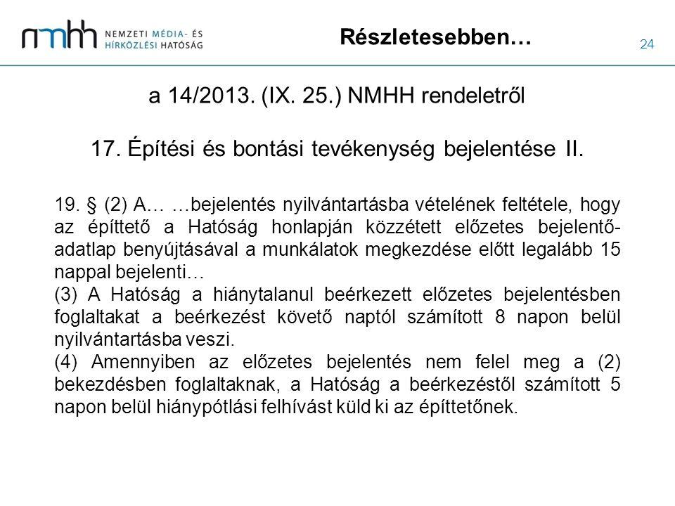 24 Részletesebben… a 14/2013. (IX. 25.) NMHH rendeletről 19. § (2) A… …bejelentés nyilvántartásba vételének feltétele, hogy az építtető a Hatóság honl