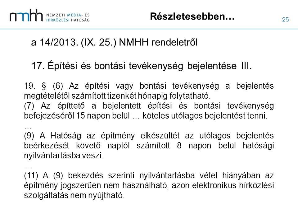 25 Részletesebben… a 14/2013. (IX. 25.) NMHH rendeletről 19. § (6) Az építési vagy bontási tevékenység a bejelentés megtételétől számított tizenkét hó