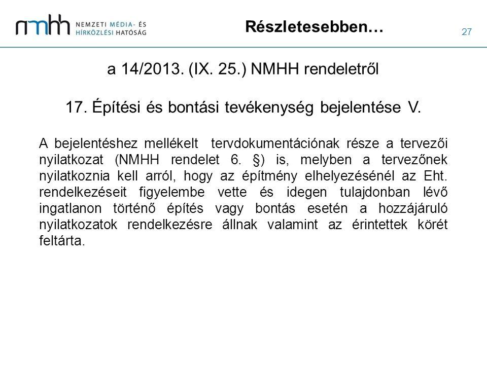 27 Részletesebben… a 14/2013. (IX. 25.) NMHH rendeletről A bejelentéshez mellékelt tervdokumentációnak része a tervezői nyilatkozat (NMHH rendelet 6.