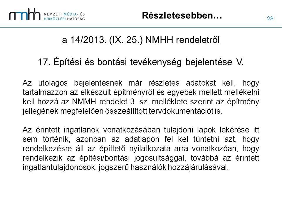 28 Részletesebben… a 14/2013. (IX. 25.) NMHH rendeletről Az utólagos bejelentésnek már részletes adatokat kell, hogy tartalmazzon az elkészült építmén