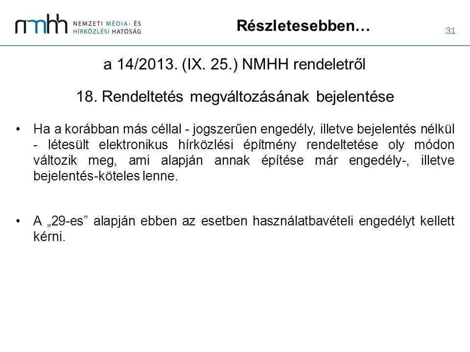 31 Részletesebben… a 14/2013. (IX. 25.) NMHH rendeletről Ha a korábban más céllal - jogszerűen engedély, illetve bejelentés nélkül - létesült elektron
