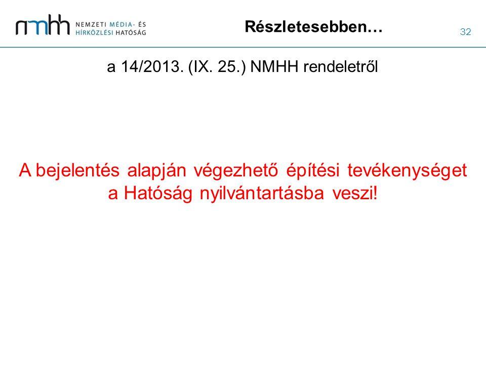 32 Részletesebben… a 14/2013. (IX. 25.) NMHH rendeletről A bejelentés alapján végezhető építési tevékenységet a Hatóság nyilvántartásba veszi!