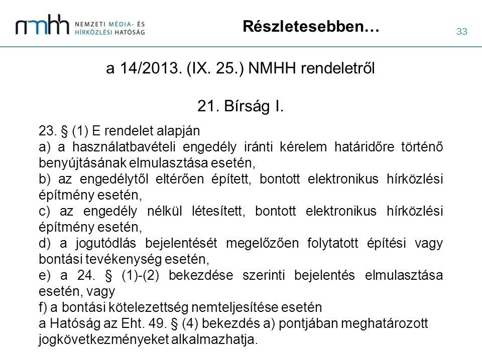 33 Részletesebben… a 14/2013. (IX. 25.) NMHH rendeletről 23. § (1) E rendelet alapján a) a használatbavételi engedély iránti kérelem határidőre történ