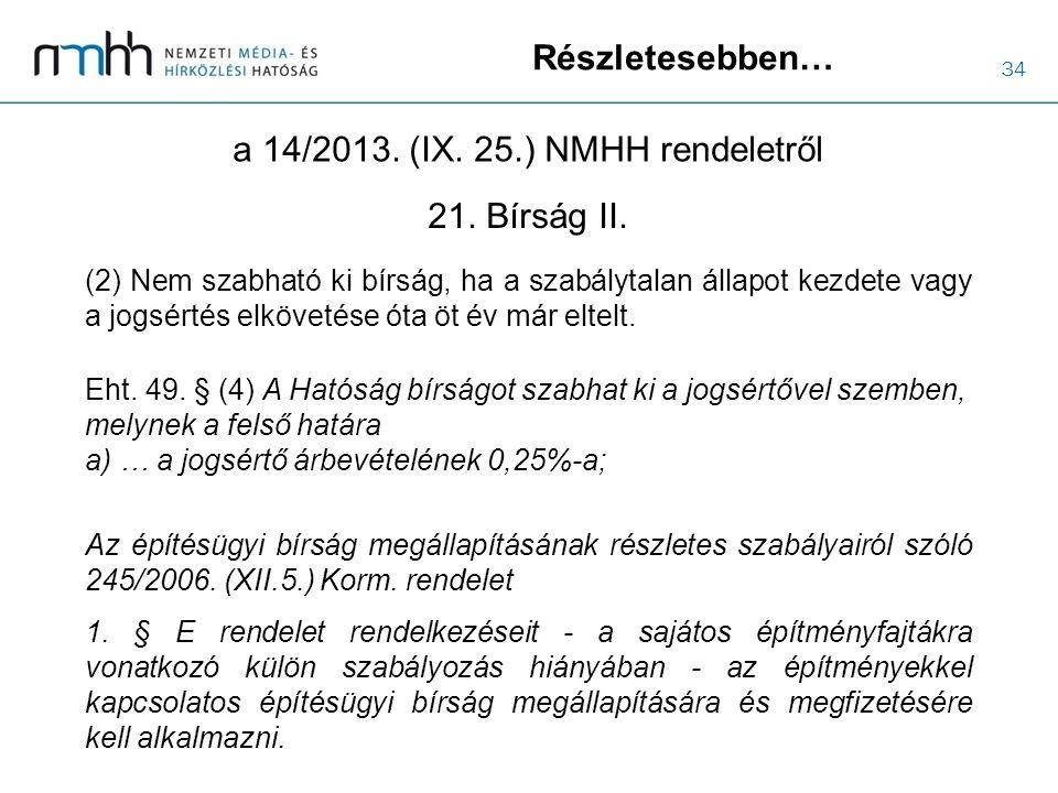 34 Részletesebben… a 14/2013. (IX. 25.) NMHH rendeletről (2) Nem szabható ki bírság, ha a szabálytalan állapot kezdete vagy a jogsértés elkövetése óta