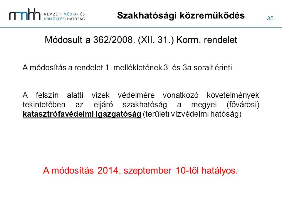 35 Szakhatósági közreműködés Módosult a 362/2008. (XII. 31.) Korm. rendelet A felszín alatti vizek védelmére vonatkozó követelmények tekintetében az e