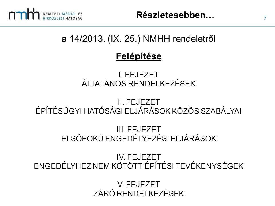7 Részletesebben… a 14/2013. (IX. 25.) NMHH rendeletről I. FEJEZET ÁLTALÁNOS RENDELKEZÉSEK II. FEJEZET ÉPÍTÉSÜGYI HATÓSÁGI ELJÁRÁSOK KÖZÖS SZABÁLYAI I