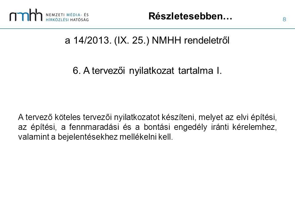 8 Részletesebben… a 14/2013. (IX. 25.) NMHH rendeletről 6. A tervezői nyilatkozat tartalma I. A tervező köteles tervezői nyilatkozatot készíteni, mely