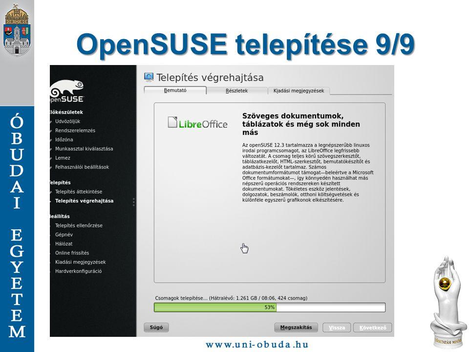 OpenSUSE telepítése 9/9