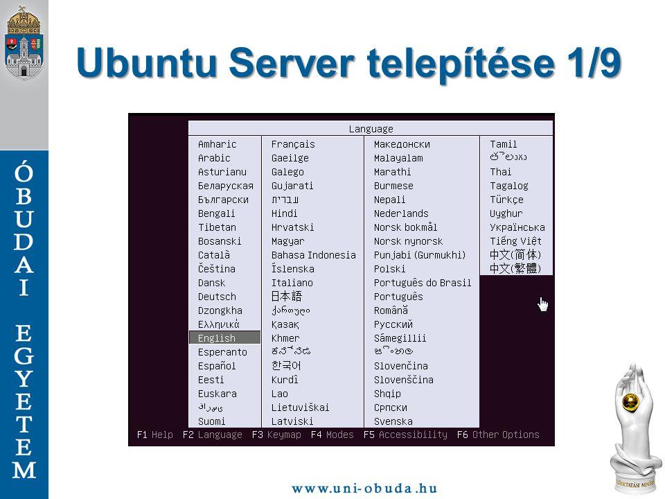 Ubuntu Server telepítése 1/9