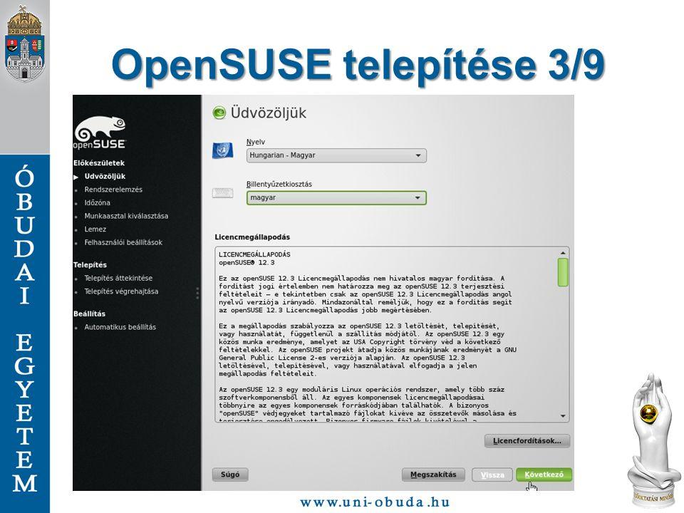 OpenSUSE telepítése 3/9