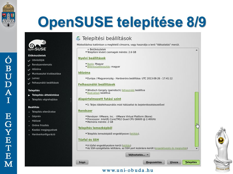 OpenSUSE telepítése 8/9