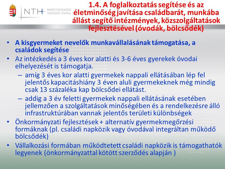 1.4. A foglalkoztatás segítése és az életminőség javítása családbarát, munkába állást segítő intézmények, közszolgáltatások fejlesztésével (óvodák, bö