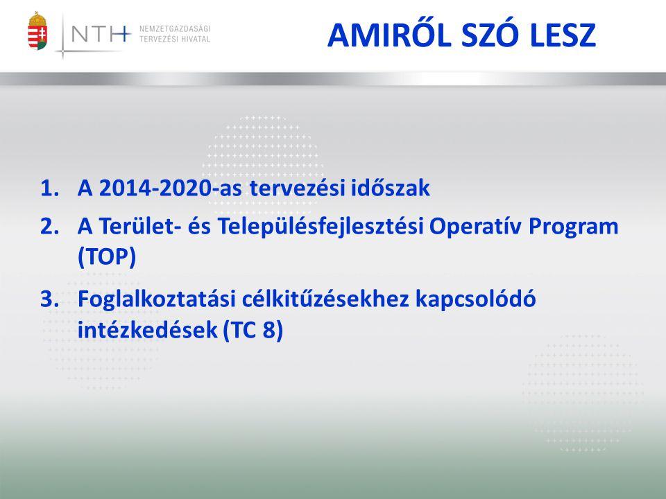 AMIRŐL SZÓ LESZ 1.A 2014-2020-as tervezési időszak 2.A Terület- és Településfejlesztési Operatív Program (TOP) 3.Foglalkoztatási célkitűzésekhez kapcs